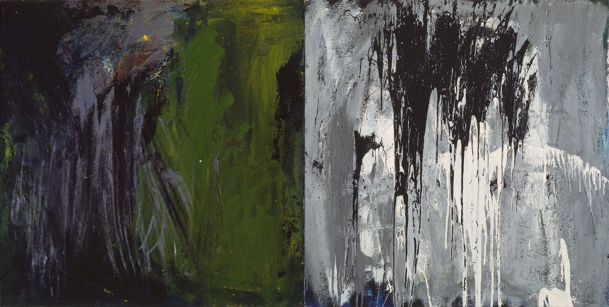 untitled, 1984, oil, varnish on canvas, diptych, 39.37 x 78.74 in