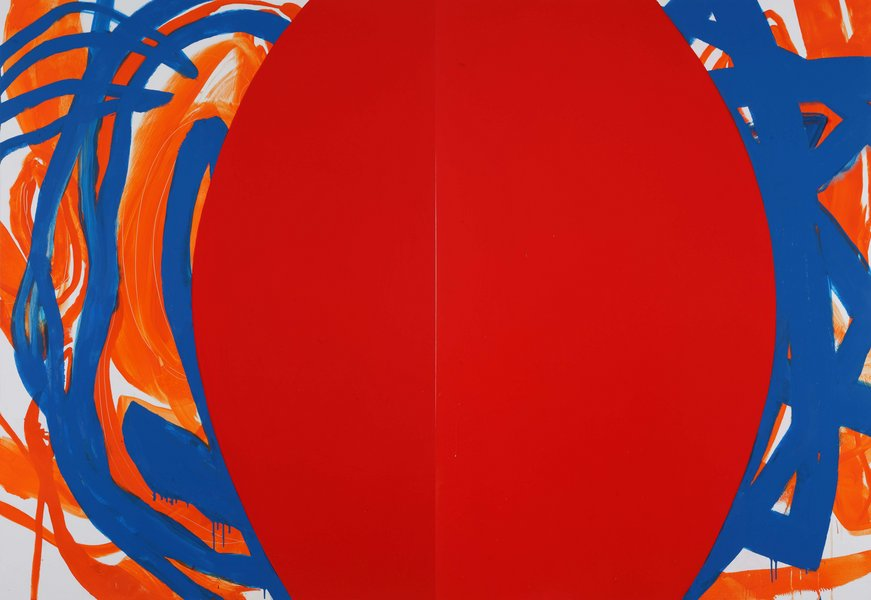 untitled, 2013, lacquer on aluminum, 59.06 x 86.61 in, (Diptych 59.06 x 43.31 in ea.)